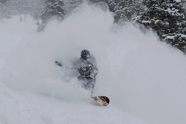 The Mountain Pulse Photo of the Day 02/22/11 - Snowboarding powder in Jackson Hole
