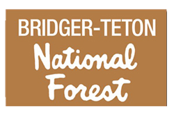bridger teton national forest logo, mountain biking trails, jackson hole, wyoming, grand teton national park