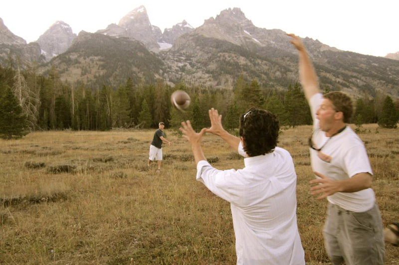 grand teton football toss fall 2011 huge football fan go patriots the mountain pulse jackson hole