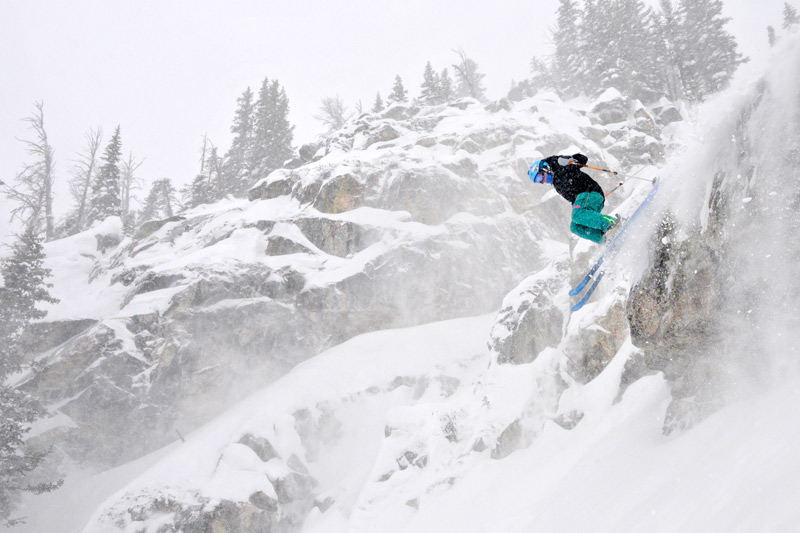 "02/08/14 - Rachel Fortier returned from the Freeride World Qualifier event at Crystal Mountain to 14"" of new snow to train and play on at Jackson Hole Mountain Resort. Photographer:"